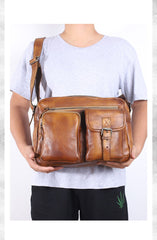 Brown Cool Leather Mens 14 inches Side Bag Gray Courier Bag Messenger Bag for Men