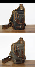 Canvas Black Mens Sling Bag Green Chest Bag One Shoulder Backpack For Men