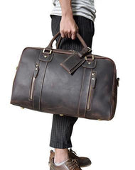 Vintage Leather Mens Weekender Bag Vintage Cool Travel Bag Duffle Bag for Men