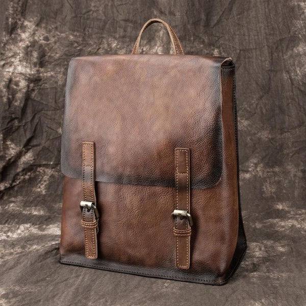 Fashion Brown LEATHER MEN'S College Backpack Travel Backpack Satchel School Backpack For Men