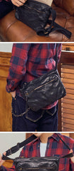 Fashionable Black Leather Mens Tan Side Bag Messenger Bags Casual Courier Bags for Men