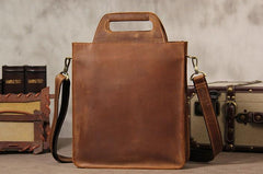 Mens Brown Coffee Handbag Genuine Leather Cool Vintage Shoulder Bag for Men