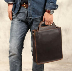 Genuine Leather Cool Vintage Mens Brown Coffee Handbag Shoulder Bag for Men