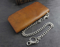 Genuine Leather Mens Chain Wallet Biker Wallet Cool Leather Wallet Long Trucker Wallets for Men