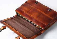 Genuine Leather Mens Cool Messenger Bag Large Briefcase Work Bag Business Bag Laptop Bag for men