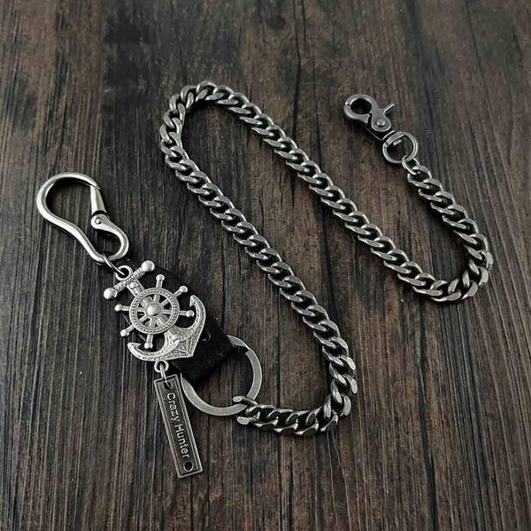 HEAVY METAL ANCHOR BIKER SILVER WALLET CHAIN LONG PANTS CHAIN SILVER Jeans Chain Jean Chain FOR MEN