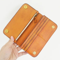 Handmade Vintage Mens Brown Leather Long Wallet Bifold Brown Cool Long Wallets for Men