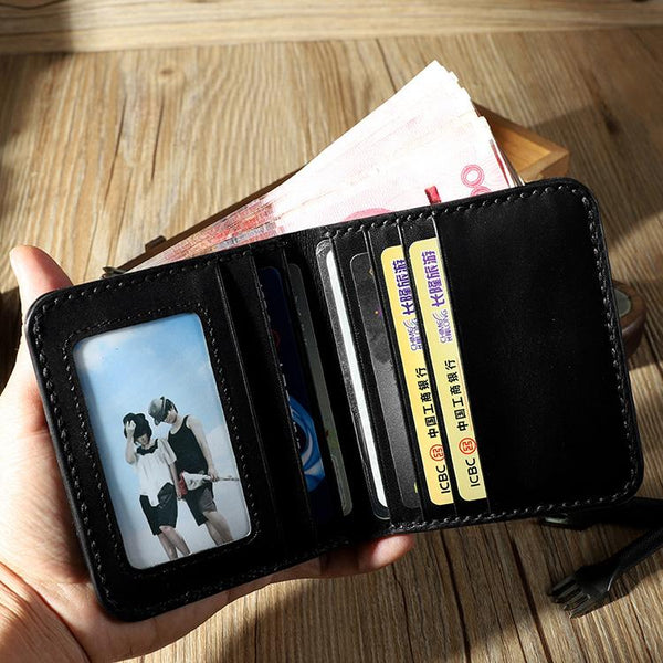 Handmade Leather Mens Billfold Wallet Personalize Bifold Small Wallets for Men