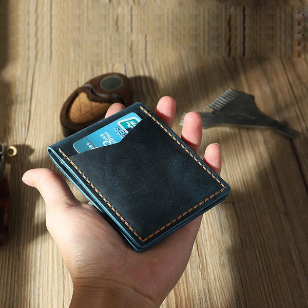 Handmade Blue Leather Mens License Wallet Personalize Bifold License Card Wallets for Men