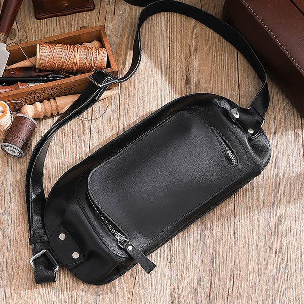 Handmade Black LEATHER MEN Sling Bag Waist BAG LEATHER Fanny Pack FOR MEN