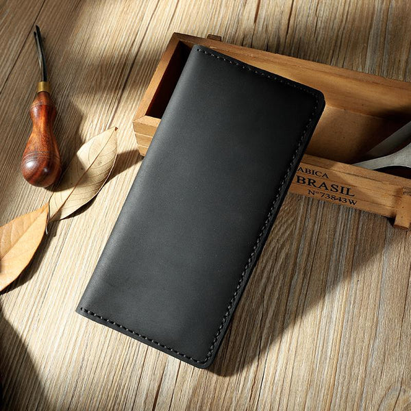 Handmade Black Leather Mens Bifold Long Wallet Personalized Black Checkbook Wallets for Men