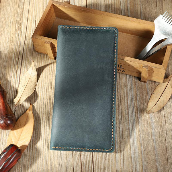 Handmade Blue Leather Mens Bifold Long Wallet Personalized Blue Checkbook Wallets for Men