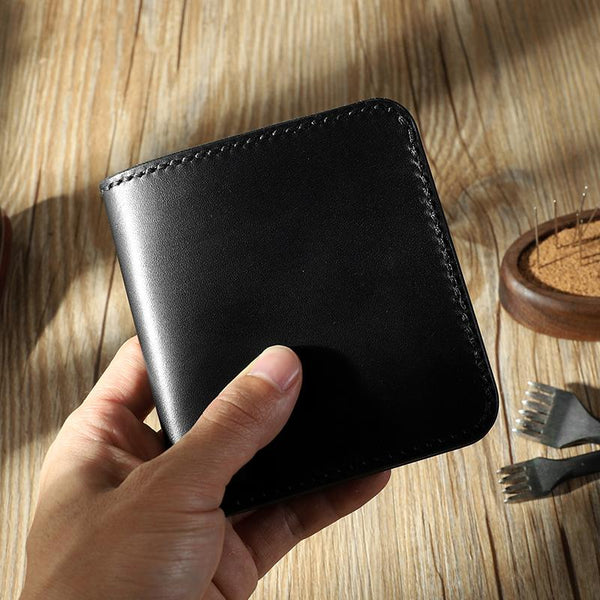 Handmade Black Leather Mens Billfold Wallets Personalize Black Bifold Small Wallets for Men