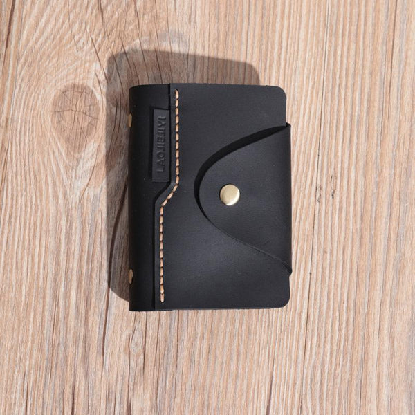 Handmade Black Leather Mens Card Holders Wallet Personalized Card Wallets for Men