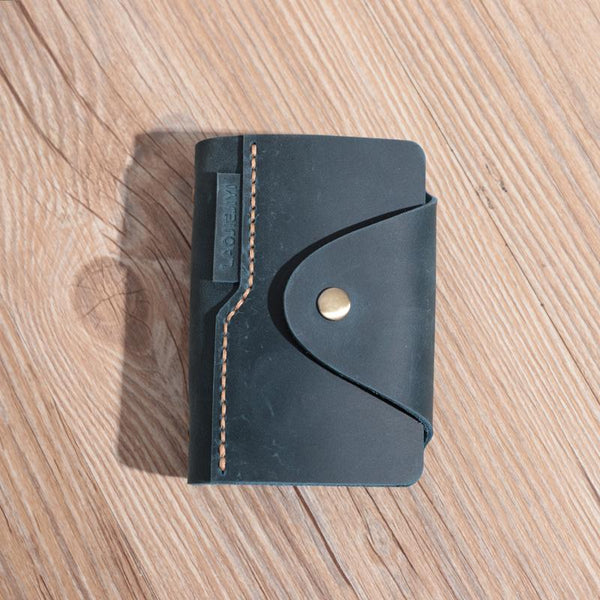 Handmade Blue Leather Mens Card Holders Wallet Personalized Card Wallets for Men