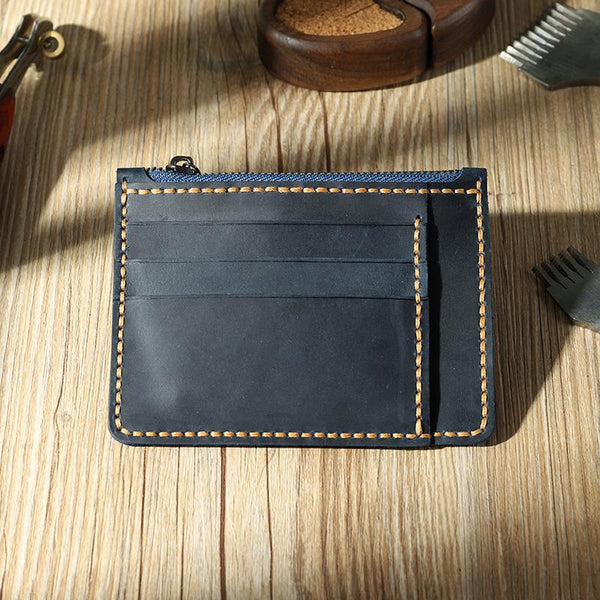 Handmade Blue Leather Mens Front Pocket Wallets Personalized Slim Card Wallet for Men