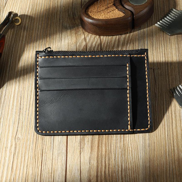 Handmade Black Leather Mens Front Pocket Wallets Personalized Slim Card Wallet for Men