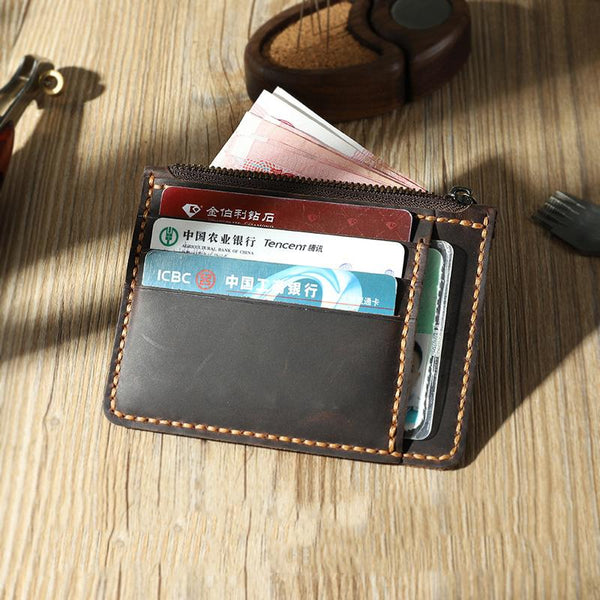 Handmade Coffee Leather Mens Front Pocket Wallets Personalized Slim Card Wallet for Men