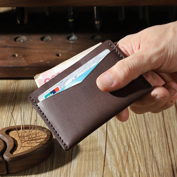 Handmade Coffee Leather Mens Front Pocket Wallets Personalized Slim Card Wallets for Men