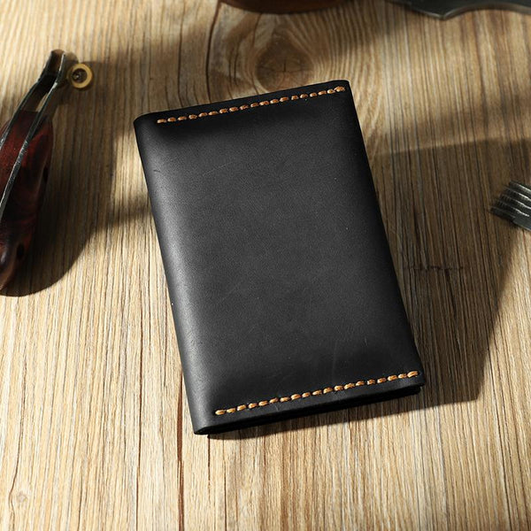Handmade Black Leather Mens Small Card Holders Wallet Personalized Bifold Card Wallets for Men