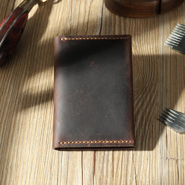 Handmade Coffee Leather Mens Small Card Holders Wallet Personalized Bifold Card Wallets for Men