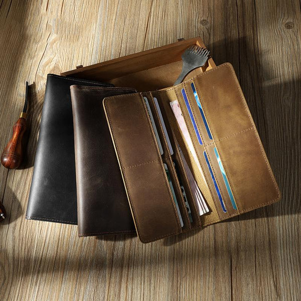 Handmade Slim Leather Mens Bifold Long Wallet Personalized Black Checkbook Wallets for Men