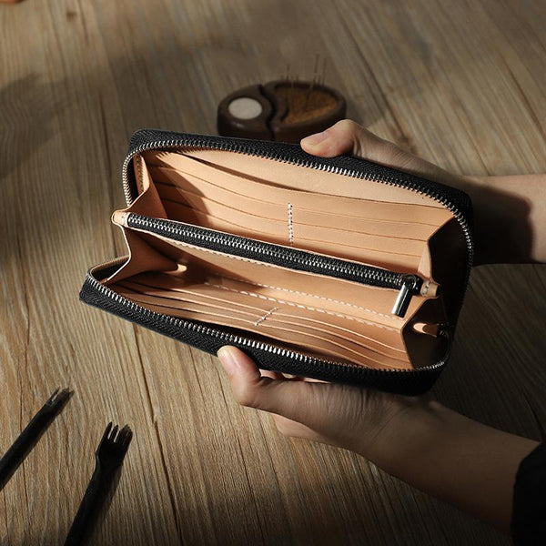 Handmade Black Zipper Mens Clutch Wallets Personalized Black Leather Zipper Clutch for Men