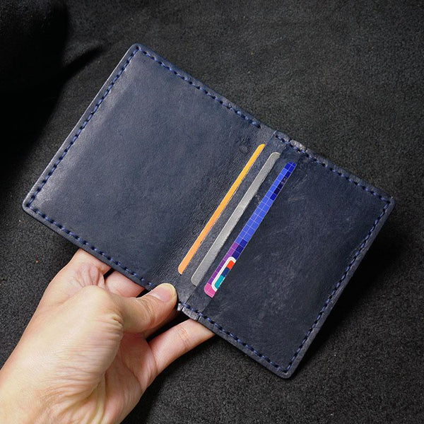 Handmade Leather Mens Slim Card Holders Wallets Blue Slim Bifold Card Wallet for Men