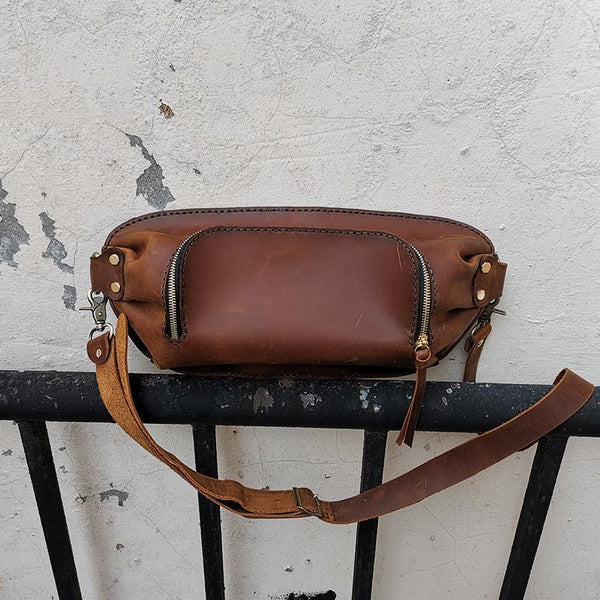 Handmade LEATHER MEN Sling Bag Waist BAG Brown LEATHER Fanny Pack FOR MEN