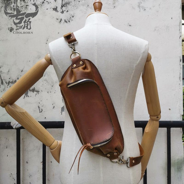 Handmade Brown LEATHER MEN Sling Bag Waist BAG LEATHER Fanny Pack FOR MEN