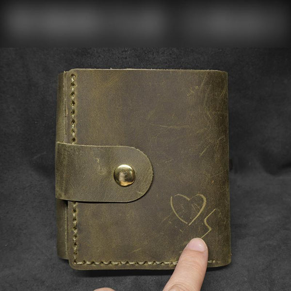 Handmade Green Leather Mens Trifold Billfold Wallet With Coin Pocket Brown Small Wallet for Men