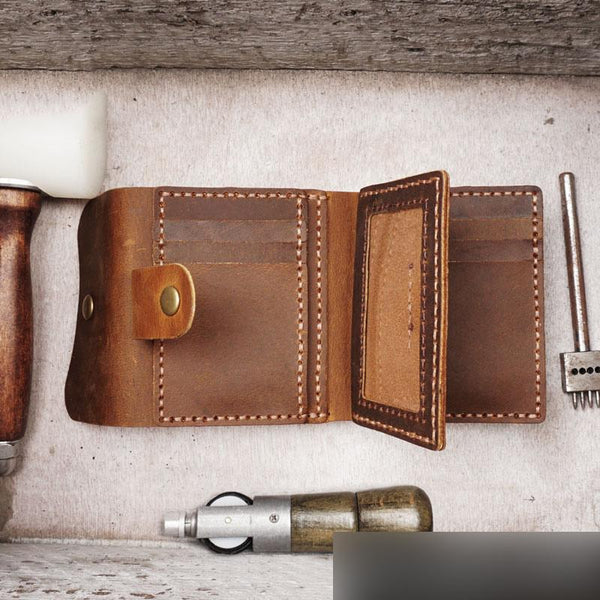 Handmade Brown Leather Mens Trifold Billfold Wallet With Coin Pocket Short Blue Small Wallet for Men