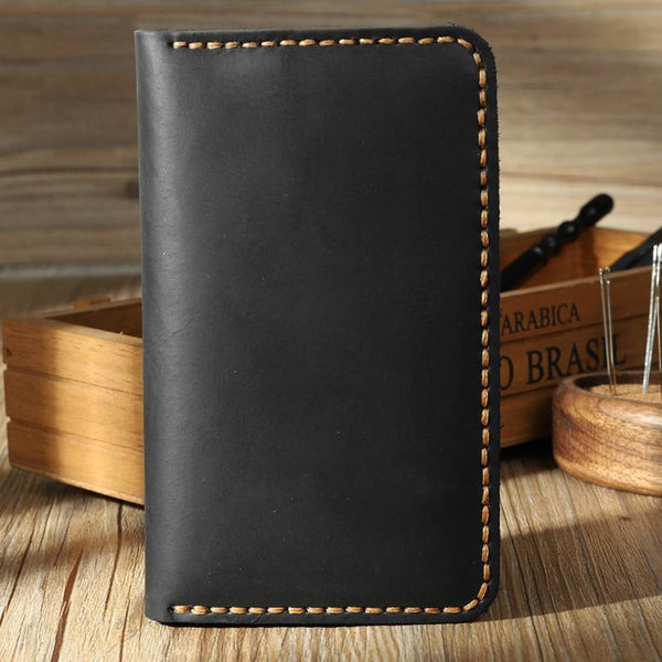 Handmade Black Leather Mens Card Holders Wallet Personalized Bifold Card Wallets for Men