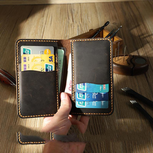 Handmade Coffee Leather Mens Card Holders Wallet Personalized Bifold Card Wallets for Men