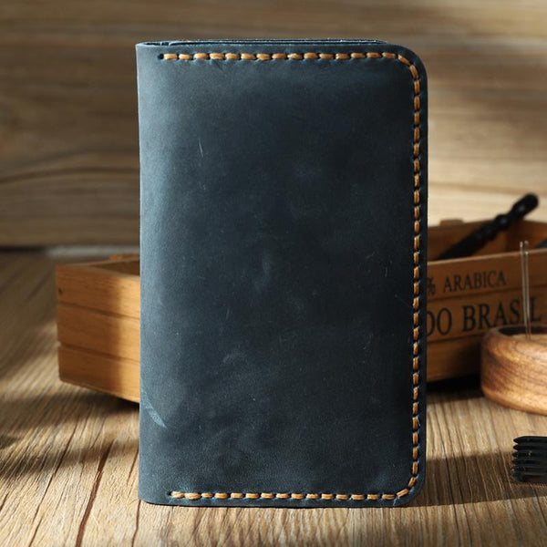Handmade Blue Leather Mens Card Holders Wallet Personalized Bifold Card Wallets for Men