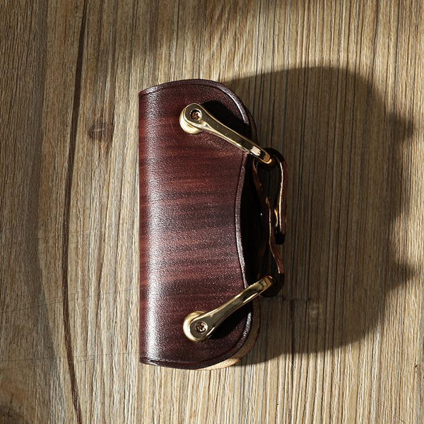 Handmade Coffee Leather Mens Keys Holder Keys Wallet Car Key Holders Coffee Key Pouch for Men