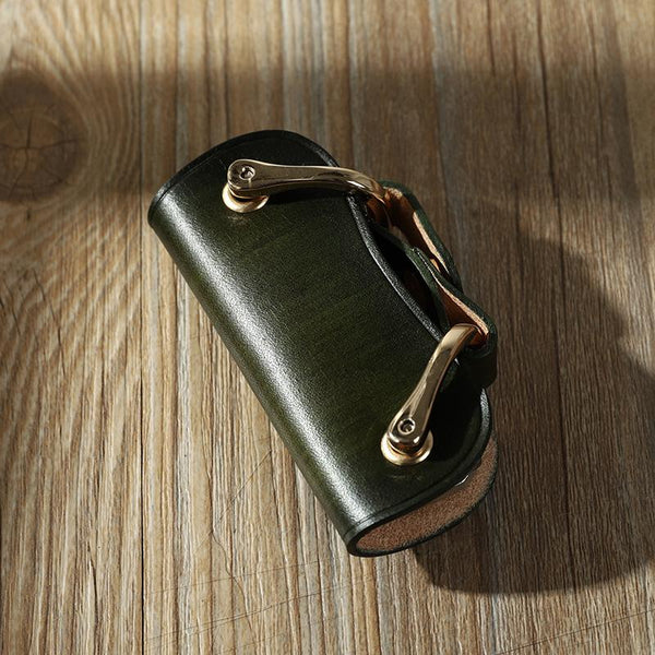 Handmade Green Leather Mens Keys Holder Keys Wallet Car Key Holders Green Key Pouch for Men