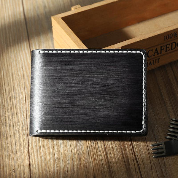 Handmade Black Leather Mens Licenses Wallet Personalize Bifold License Card Wallets for Men