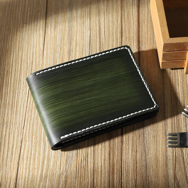 Handmade Green Leather Mens Licenses Wallet Personalize Bifold License Card Wallets for Men