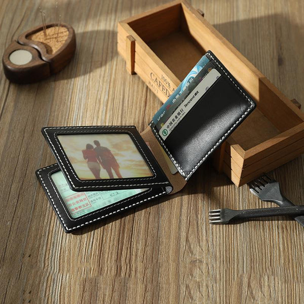 Handmade Leather Mens Licenses Wallet Personalize Bifold License Card Wallets for Men