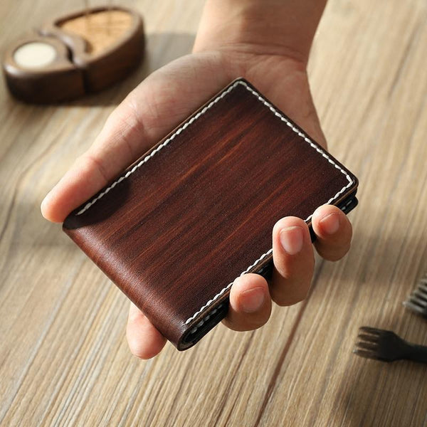 Handmade Coffee Leather Mens Licenses Wallet Personalize Bifold License Card Wallets for Men