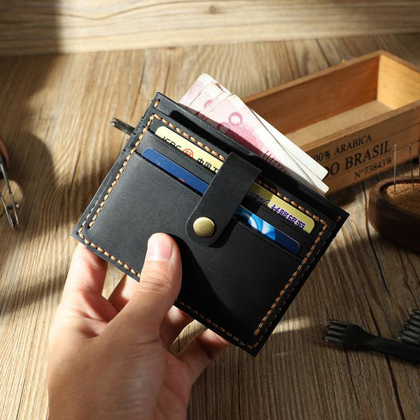 Handmade Black Leather Mens Slim Front Pocket Wallet Personalized Slim Card Wallets for Men