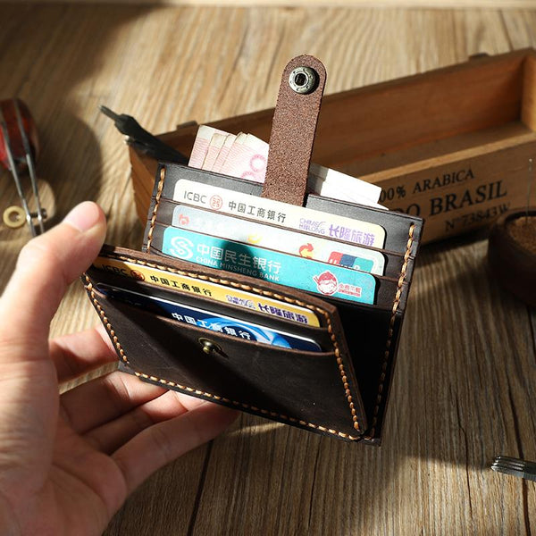 Handmade Coffee Leather Mens Slim Front Pocket Wallet Personalized Slim Card Wallets for Men