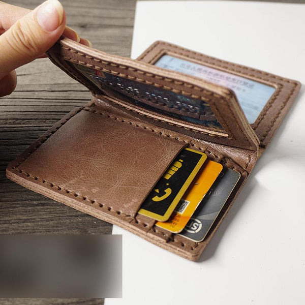 Handmade Leather Mens Black Card Holders License Wallets Slim Bifold Card Wallet for Men