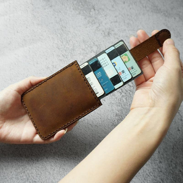Handmade Leather Mens Card Holder Wallet Leather Card Holder Slim Card Wallet for Men