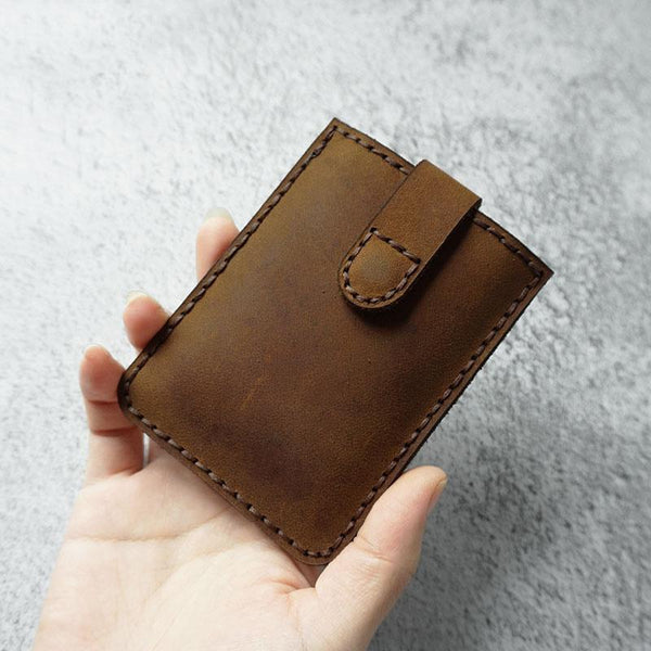 Leather Mens Card Holder Wallet Handmade Leather Card Holder Slim Card Wallet for Men