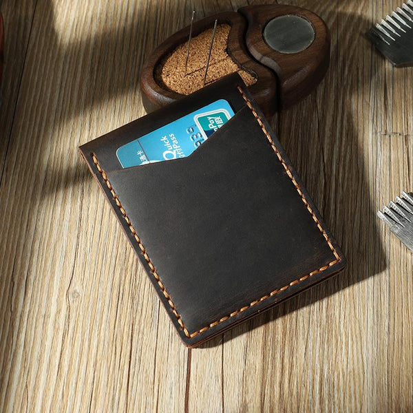 Handmade Coffee Leather Mens License Wallet Personalize Bifold License Card Wallets for Men
