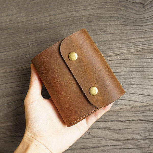 Handmade Leather Mens Trifold Billfold Wallet Key Wallet Brown Slim Key Holder Wallet for Men