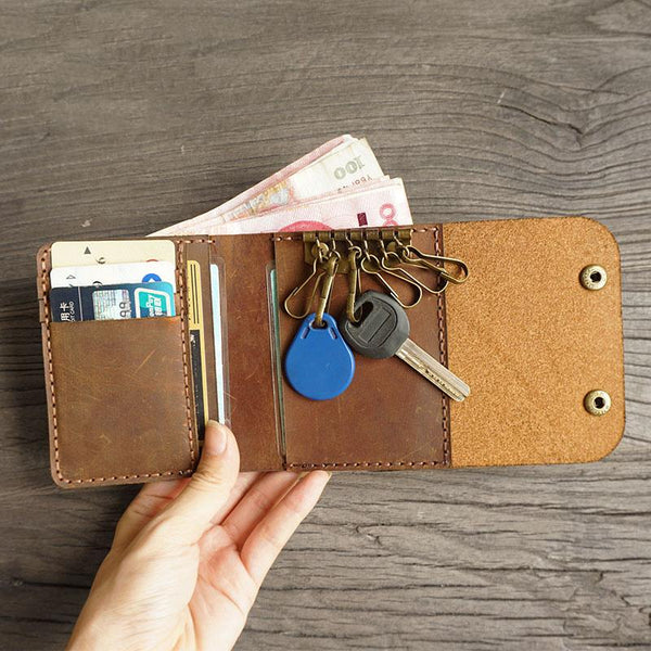 Handmade Leather Mens Trifold Billfold Wallet Key Wallets Brown Slim Key Holder Wallet for Men