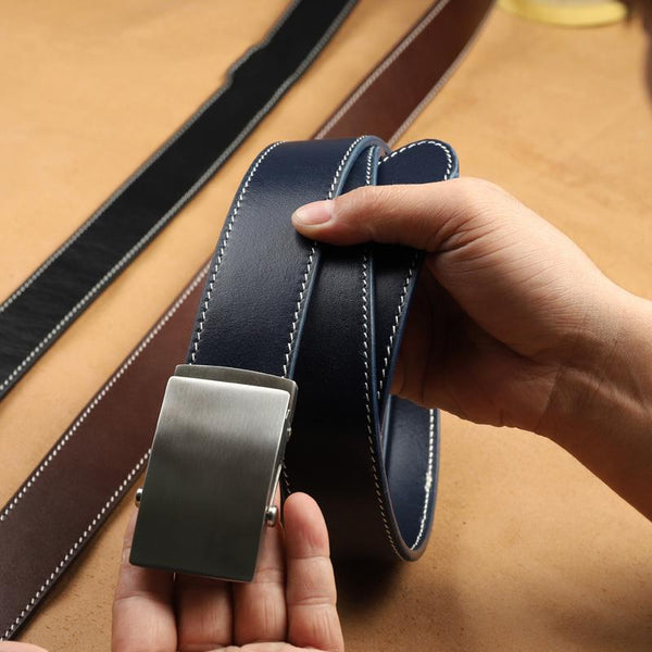 Handmade Mens Blue Leather Belts PERSONALIZED Handmade Blue Leather Belt for Men